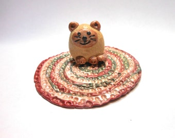 Cat on a Rug-OOAK-Polymer Clay Cat on Rug-Siamese Cat