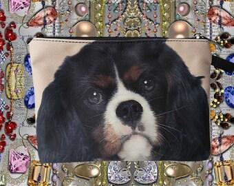 Cavalier King Charles Spaniel dog pouch,  dog pouch, dog purse, dog clutch, dog lover pouch, dog portrait pouch, dog makeup bag,MK 1609