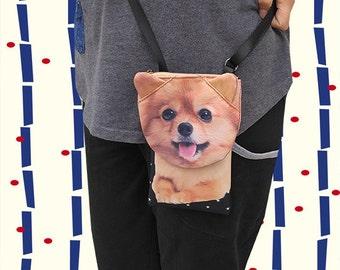 Pomeranian , cross body phone case, smartphone bag, iPhone 4s bag, iPhone 5 or 6 bag, Note 4 bag, dog lover bag, dog purse, PH 1180