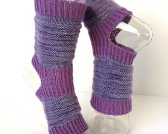 Yoga Socks, Hipster Handknit Yoga Sox, Pilates, PiYo, Dance Socks, Pedicure Socks, Yoga Socks, Boho Socks, Hipster Socks, Yoga Purples, Gift