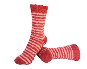 Socks, Hand Knit Unique Socks, ZigZag Striped Design Socks, Boho Socks, Men Women Socks,  Hipster Socks, Gift, Dusty Rose & Pink Stripes