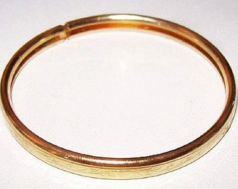 "Victorian Baby Bangle Bracelet Gold Etched Vines Child Christening 1 7/8"" Vintage"