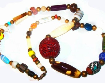 "Cinnabar Bead Necklace Porcelain Glass Colored Beads Boho Fashion 26"" Vintage"