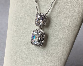 Double Emerald Cut Necklace Pendant, Wedding Jewelry, Bridal Necklace, AAA Grade CZ, Bridesmaid Jewelry