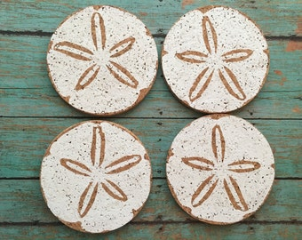 Sand Dollar Drink Coaster Set, Beach Cork Coasters, Shell Coaster Set, Drink Coaster Set, Cork Coaster Set, Beach Cork Coaster Set