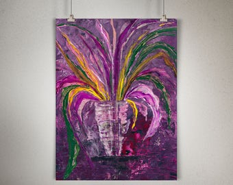 """Plant Study 0004 PAINTING on CANVAS SHEET 12"""" x 16"""", Snake Plant, Sansevieria, Purple Background, Yellow Leaves"""