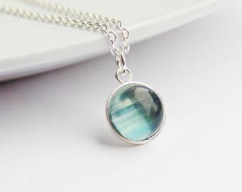 Blue rainbow fluorite gemstone round pendant sterling silver necklace