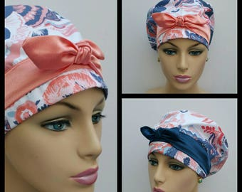 Handmade Woman Surgical Scrub Cap - Wonderful Things - 100 % cotton