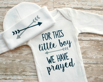 Baby Boy Coming Home Outfit - For This Little Boy We Have Prayed Bodysuit - Newborn Boy - Bring Home Outfit Boy - Baby Gift -NICU Clothing
