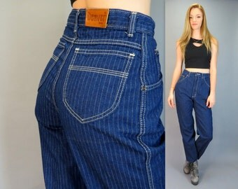 """Vintage 80s High Waisted Pleated Front Blue Jeans Pinstripe Full Tapered Leg Denim Hipster Ultra High Rise Ankle Mom Jeans Retro 27"""" Waist"""