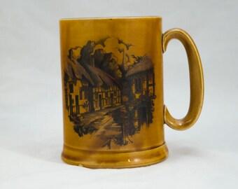 Vintage European Beer Stein, Beer Mug, Beer Glass - Brown glazed Ceramic with European Village printing on one sie.