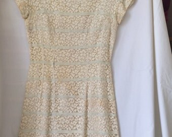 Vintage Cream and Blue Lace Dress