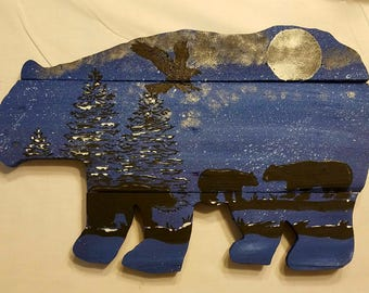 Hand painted family bear sign