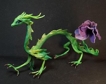 Green Full Poseable leather Violin flower   Spirit dragon doll