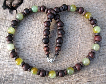 Mens necklace, jade and wood beads, tribal surfer style, handmade from beautiful natural materials in earthy colors, genuine green jade