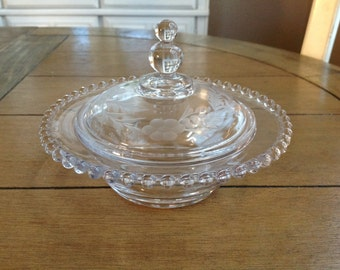 Vintage Imperial House Glass Lidded Candy Dish with Hobnail Trim and Etched Detail Wonderful Three Point Knob