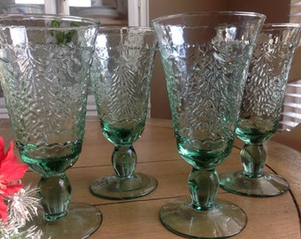 Holiday Cheer by Studio Nova SVAHOC  Water Goblets Set of 4 Green Stemmed Water Goblets with Embossed Christmas Tree