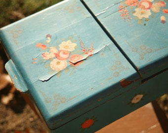 Vintage Wood Sewing box on Legs, Blue and Floral Hand Painted Sewing Box, Folk Art, Old Sewing, End Table, Sewing Table