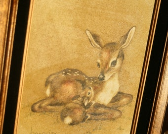 Baby Fawn and Bunny Oil Painting, Nursery, Kid's Room, 1980s Art, Animal Lover, Friends for Life, 1884