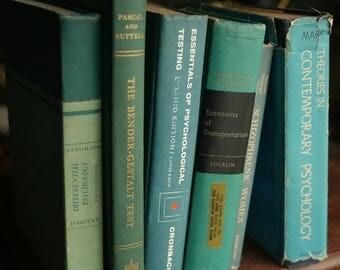 6 Vintage School Books, Stack of Decorative Books, Books, Old Books, Home Decor, Vintage Books, Old College Psychology Books, Teal Decor