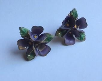 Vintage Violet Earrings - New Sterling Silver Stud Back
