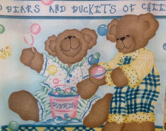 Baby Quilt blocks Teddy bear quilt kit, bubbles and teddy bears fabric,cut blocks, 8x8 square blocks, coordinate fabric as shown available