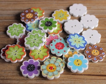 """30 PC Painted wood buttons 20mm - Wooden Buttons ,buttons, natural wood buttons """"flower"""" A118"""