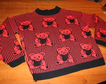 80s 90s Cutester ADELE Knitwear TEDDY BEAR Sweater Pullover Red & Black Pinstripe Made in Usa Full House Cosby Retro Harajuku Boxy Fit
