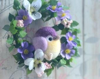 Mini bird flower wreath, needle felted bird on flower wreath, purple color bird doll home decor ornament, handmade gift under 25