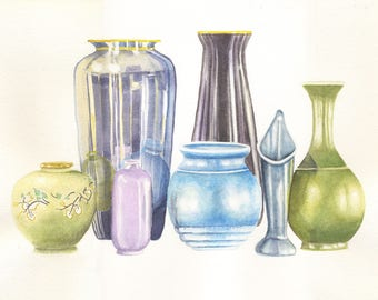 Still life, Vase, 8x10 PRINT from original watercolor painting, art &  collectibles, home decor, wall art,  earthspalette