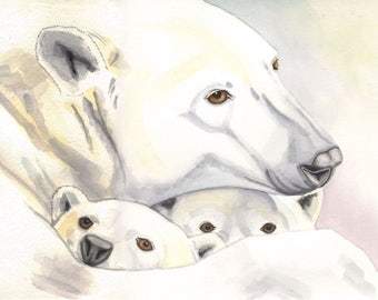 Polar Bear and cubs, 8x10 PRINT from original watercolor painting, art &  collectibles, home decor, wall art, animals, earthspalette