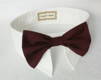 Dog Tuxedo White Shirt Collar and PORT Wine Bow Tie SET. Dog Port Wine Bow Tie, Bridal Formal Dog Wear- Dog Wedding Shirt  Wedding Bow Tie
