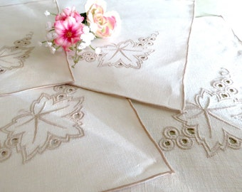 Vintage Linen Placemats, Set of 4, Machine Embroidered, Beige and Taupe, Classic Table Linens, Vintage Linens by TheSweetBasilShoppe