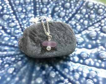 rare lavender sea glass cubic zirconia necklace, elegant and unique sea glass necklace, beach gift, bridesmaids gift, wedding jewelry