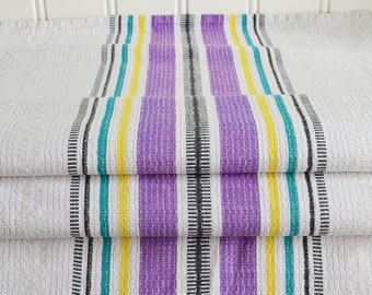 Large woven table runner, vintage Swedish linen, classic pattern, table decor, purple and beige