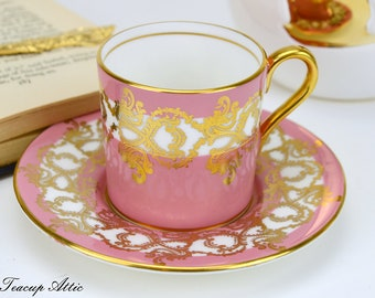 Aynsley Pink Demitasse Coffee Cup With Gold Overlay, English Bone China Tea Cup Demitasse, ca. 1934-1939
