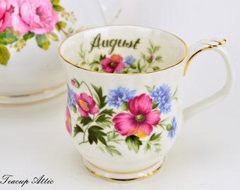 Royal Albert Flowers of the Month August Mug, Vintage English Bone China Mug, Birthday Gift,  ca. 1970