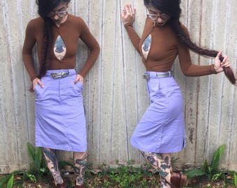 Vintage High Waisted Lavender Skirt with Pockets xs 24