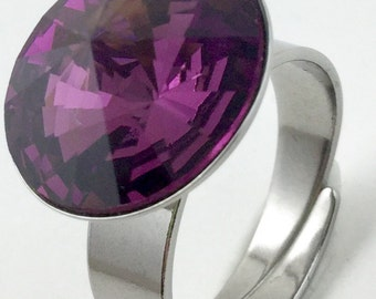 Swarovski Crystal Ring Flashy-Amethyst color-hypoallergenic Stainless Steel, size adjustable Ring gift for her- February birthstone