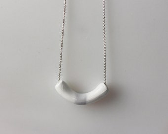 Handmade porcelain geometric necklace on a silver chain - white gray