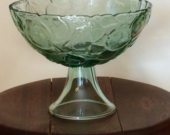Vintage Pedestal Fruit Bowl, Green Fruit Patterned Glass