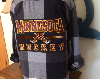 Upcycled Flannel Shirt,  Black and White Flannel Shirt, Panel Cut From Recycled Sweatshirt, Minnesota Hockey Flannel Shirt