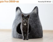 Cat bed - cat cave - cat house - handmade felted wool cat bed - black with natural light - made to order - Valentines gift -gift for pets