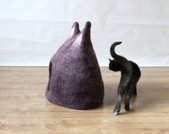 Cat bed cave pet house wool felt eco-friendly handmade cat bed with ears purple aubergine with natural white gift for pets modern home decor