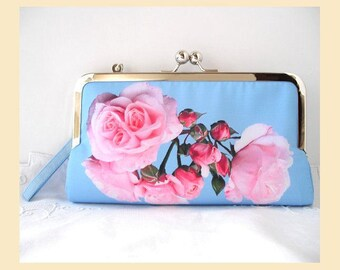 Clutch bag with wristlet, handmade with pink roses on blue digital print, wedding clutch, bridal purse, optional personalisation