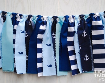 Whale Fabric Bunting - FREE Shipping - Whale Fabric Garland - Whale Garland - Whale Bunting - Whale Banner - Whale Party - Whale Baby Shower