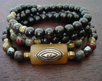 Men's Eye of Shiva Mala // Dragon's Blood Jasper & Hematite Mala Necklace or Wrap Bracelet // Yoga, Buddhist, Prayer Beads, Jewelry