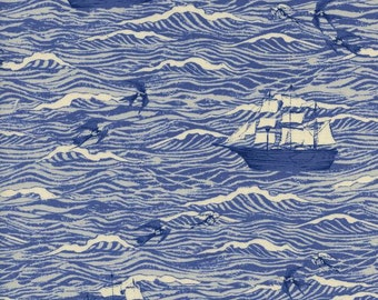 S.S. Bluebird - Out to Sea in Blue - Cotton + Steel - 5094-01 - 1/2 yard