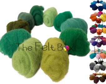 Wool for Felting, Wool Batting, Needle Felting Wool, Carded Wool Packs 100 g / 3.5 oz, Pick a shade