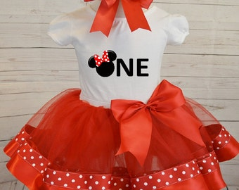 Minnie Mouse Birthday outfit,FREE SHIPPING,girl clothing,birthday outfit,minnie mouse set,disney outfit,ribbon tutu,polka dots,first bday,